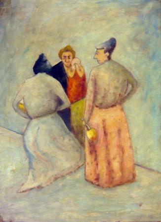 Quadro di  Copie d'Autore Chiacchere (scuola Rosai) - olio tela